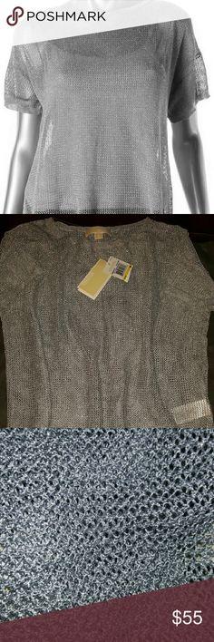 Michael Kors Silver Mesh Top Michael Kors Silver mesh Top - cover up.  Size Medium  Brand New Michael Kors Tops Blouses
