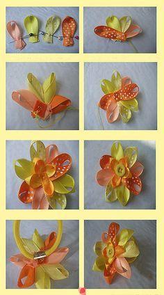 DIY - flor para el pelo hecha con cintas Más