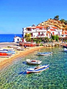Kokkari, Samos island , Greece aghh holidays in the Greek islands Places Around The World, Oh The Places You'll Go, Travel Around The World, Places To Travel, Places To Visit, Around The Worlds, Vacation Destinations, Dream Vacations, Vacation Spots