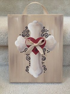 Cross Canvas with Heart and Ribbon by 2girlswhomakecrosses on Etsy, $30.00