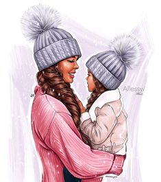 Baby Girl Drawing, Girl Drawing Sketches, Cartoon Girl Drawing, Girl Cartoon, Drawing Artist, Sketch Painting, Mother And Daughter Drawing, Mother Art, Mom Daughter Photos