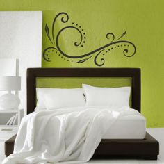 This Fabric Damask Wall Stencil is one of our most popular stencil patterns! All of our allover and damask stencil patterns feature an easy stencil registration system, allowing you to repeat these st Bedroom Green, Bedroom Wall, Bedroom Decor, Wall Decor, Decor Room, Wall Art, Bedroom Ideas, Damask Wall Stencils, Wall Stencil Patterns