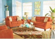 Couchtisch oval orange sofa glas bunt teppic