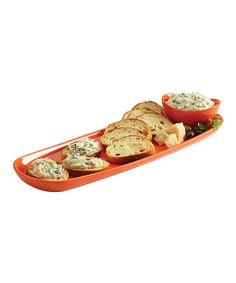 Take a look at this Orange Stoneware Baguette Tray & Dipping Cup on zulily today!