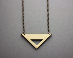 Wooden Cut Out Metallic Triangle Necklace - necklaces & pendants
