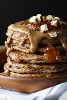 Grain-Free Protein Pancakes made with almond butter and almond flour | TheRoastedRoot.net #healthy #breakfast #recipe #glutenfree