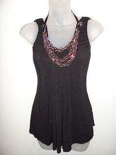 Sky Clothing Brand S Halter Top Rhinestone Crystals Pink Black Vegas Party Club | eBay