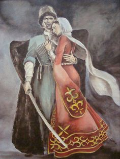 Circassians consider it shameful to see a woman, even a stranger, cutting wood… Russian Wedding, Indigenous Tribes, Traditional Fashion, Historical Costume, Eastern Europe, Painting Inspiration, Illustration, Cool Art, Art Drawings