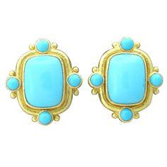 1stdibs   Elizabeth Locke Gold Turquoise Earrings