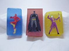 Super Hero Embedded Soap  Batman Flash or Joker by BrannyLove