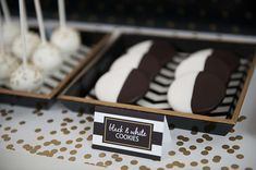 New Year's party black and white cookies! See more party planning ideas at CatchMyParty.com!