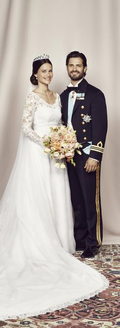 Wedding portrait; wedding of Prince Carl Philip of Sweden and ms. Sofia Hellqvist on June 13, 2015