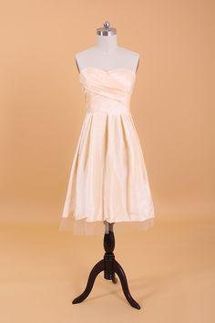 Strapless Sweetheart Tea Length Bridesmaid Dress