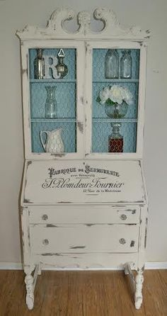 old secretary cabinet painted French blue and white with stenciled words; makeover, redo; by Reimagined Restorations; Upcycle, Recycle, Salvage, diy, thrift, flea, repurpose, refashion! For vintage ideas and goods shop at Estate ReSale & ReDesign, Bonita Springs, FL