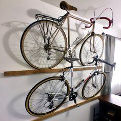 Bike Storage Garage Diy, Bicycle Storage, Bicycle Rack, Bicycle Wall Mount, Bike Mount, Bike Storage Solutions, Rack Design, Wood Beams, Wall Hanger