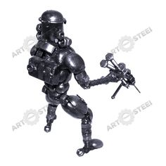 This Stormtrooper brings with it a rifle as his choice of weapon. We've created this making use of items like screws, bolts, and a spark plug.  $59.99