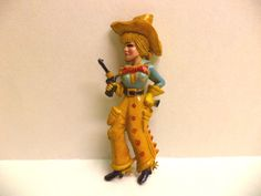"Vtg 1930's Art Deco Large Celluloid ""Annie Oakley"" Cow Girl Pin Brooch RARE FIND"