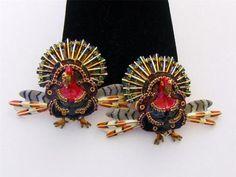 Lunch at The Ritz Turkey in The Straw Rhinestone Enamel Thanksgiving Earrings   eBay