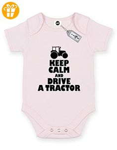 Keep Calm and DRIVE A Tractor Short Sleeve Baby Body Strampler. KOSTENLOSE LIEFERUNG IM LIEFERUMFANG ENTHALTEN. Rosa Hellpink (*Partner-Link)
