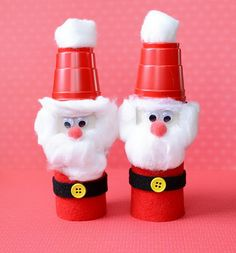 Santas - Homemade Toilet Paper Roll Crafts, http://hative.com/homemade-toilet-paper-roll-crafts/,