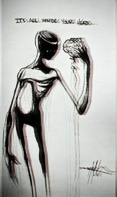 It's all inside your head – Shawn Coss - Tattoo Creepy Drawings, Dark Art Drawings, Creepy Art, Art Drawings Sketches, Cool Drawings, Arte Horror, Horror Art, Depression Art, Arte Obscura