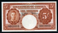 Jamaica 5 Shillings banknote of 1955.    Government of Jamaica; Currency notes are legal tender for the payment of any amount.  Obverse: Portrait of His Majesty King George VI.