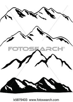 Snowy Mountain Peaks View Large Clip Art Graphic