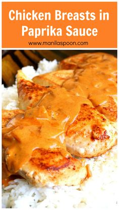 Chicken Breasts are smothered in a deliciously creamy Paprika flavored sauce! Ea… Chicken Breasts are smothered in a deliciously creamy Paprika flavored sauce! Easy and delicious dish for weeknight family dinner! Sauce Recipes, Meat Recipes, Chicken Recipes, Cooking Recipes, Sauce For Chicken, Cooked Chicken, Balsamic Chicken, Recipies, Chefs