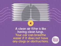 This is a really easy and crucially important factor in the service condition of your car, especially in our dusty climate. // Help your car breathe easy with a clean air filter! Clean Lungs, Car Facts, Car Care Tips, Car Buying Tips, Passion Project, Oil Change, Car Shop, How To Make Notes, Get The Job