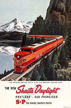 Vintage train poster portland san fransisco