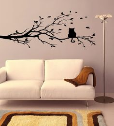 adesivo de parede decorativo galho, passaros, gato sala box