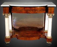 Pair of Mahogany and Marble Classical Pier Tables, probably New York - The Curator's Eye