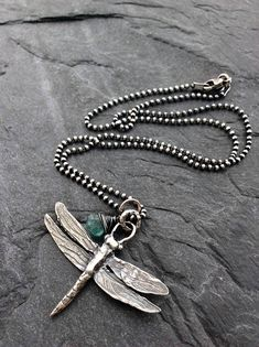 Silver Dragonfly necklace, rustic artisan necklace, woodland nature lovers necklace, winged insect necklace, gift for her