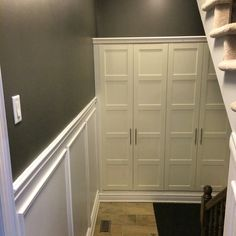 Mudroom storage - 2 ikea pax 100 x 59 x 236 built in to space