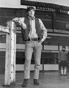 """Manchester United footballer George Best hopes to open his own boutique in Manchester, selling clothes similar to the ones he is wearing,"" 1965 Man Utd Fc, Chris Wright, Northern Irish, Northern Ireland, Manchester United Legends, European Cup, Old Trafford, Man United, Green Shirt"