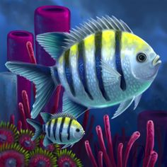 Layer Paint Sargent Major butterfly fish by charfade Colorful Fish, Tropical Fish, Fish Drawings, Art Drawings, Sea Life Art, Layer Paint, Nautical Art, Ocean Creatures, Beautiful Fish