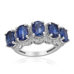 Liquidation Channel: Himalayan Kyanite and Diamond 5 Stone Ring in Platinum Overlay Sterling Silver (Nickel Free)