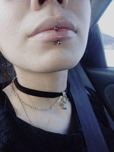 Fresh labret piercing