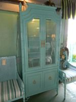 ITEM 43 Custom painted in a coastal teal #FauxBamboo #Chippendale cabinet