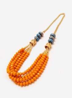 Orange & Blue Beaded Necklace by adropofgrace on Etsy, $74.00