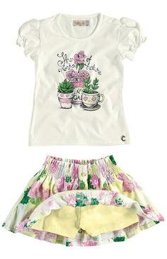 Conjunto blusa e saia floral