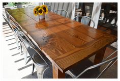 DIY outdoor farmhouse table (made from salvaged fir) - color is TOO LIGHT, but it shows how chairs can fit at head of table