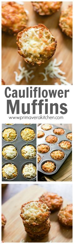 Cauliflower muffins - These Caulflower Muffins are gluten-free, low-carb and high in fiber. They are perfect side dish, appetizer or even a delicious on-the-go quick snack! Veggie Recipes, Gluten Free Recipes, Low Carb Recipes, Whole Food Recipes, Vegetarian Recipes, Cooking Recipes, Healthy Recipes, Keto Foods, Health Foods