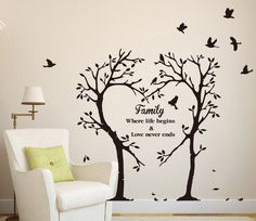 Funny Family Tree Wall Decals To Add Beauty Of Your Room: Fabulous Family Love Tree Wall Decal with Interesting White Shade Floor Lamp and Cozy White Armchair also Yellow Pillow – Ewehome Interior Design Ideas and Furniture Family Tree Decal, Family Tree Quotes, Family Tree Art, Family Tree Designs, Family Wall Art, Wall Painting Decor, Tree Wall Decor, Tree Wall Art, Art Decor