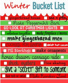 winter bucket list - I consider this a Christmas Bucket List - winter would be things involving snow and cold! Christmas Time Is Here, Noel Christmas, Merry Little Christmas, Winter Christmas, Winter Holidays, Christmas Ideas, Christmas Stuff, Christmas Inspiration, Christmas Crafts