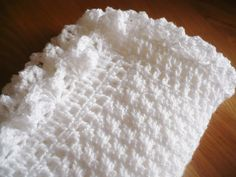 White Baby Blanket with a Decorative Border by Aalexi on Etsy,