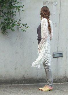 ivory bamboo fringe sweater