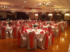 Vells Party Center in Medina, OH Wedding Venue Coral and white, Elegant
