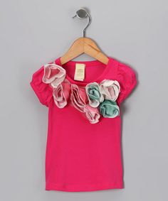 Take a look at this Hot Pink & Green Rosette Tee - Toddler & Girls by Mia Belle Baby on #zulily today!