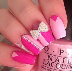Pink jeweled nails